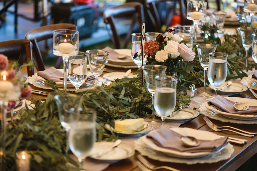 A  wedding day tablescape by V. Jaime Hamlin and Sons on Martha's Vineyard photo by David Welch Photography