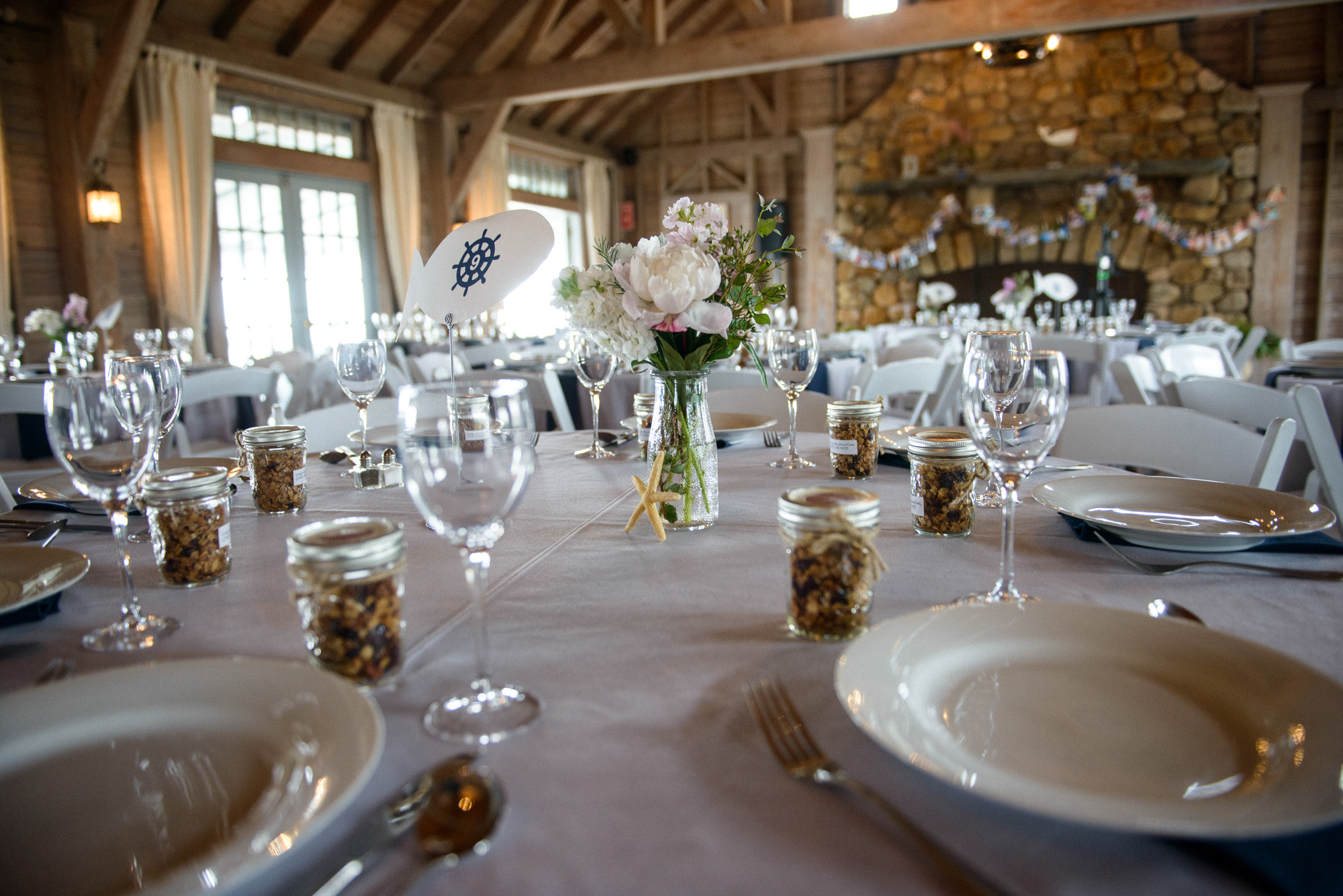 A wedding day tablescape at the East Chop Beach Club in Oak Bluffs  photo by David Welch Photography