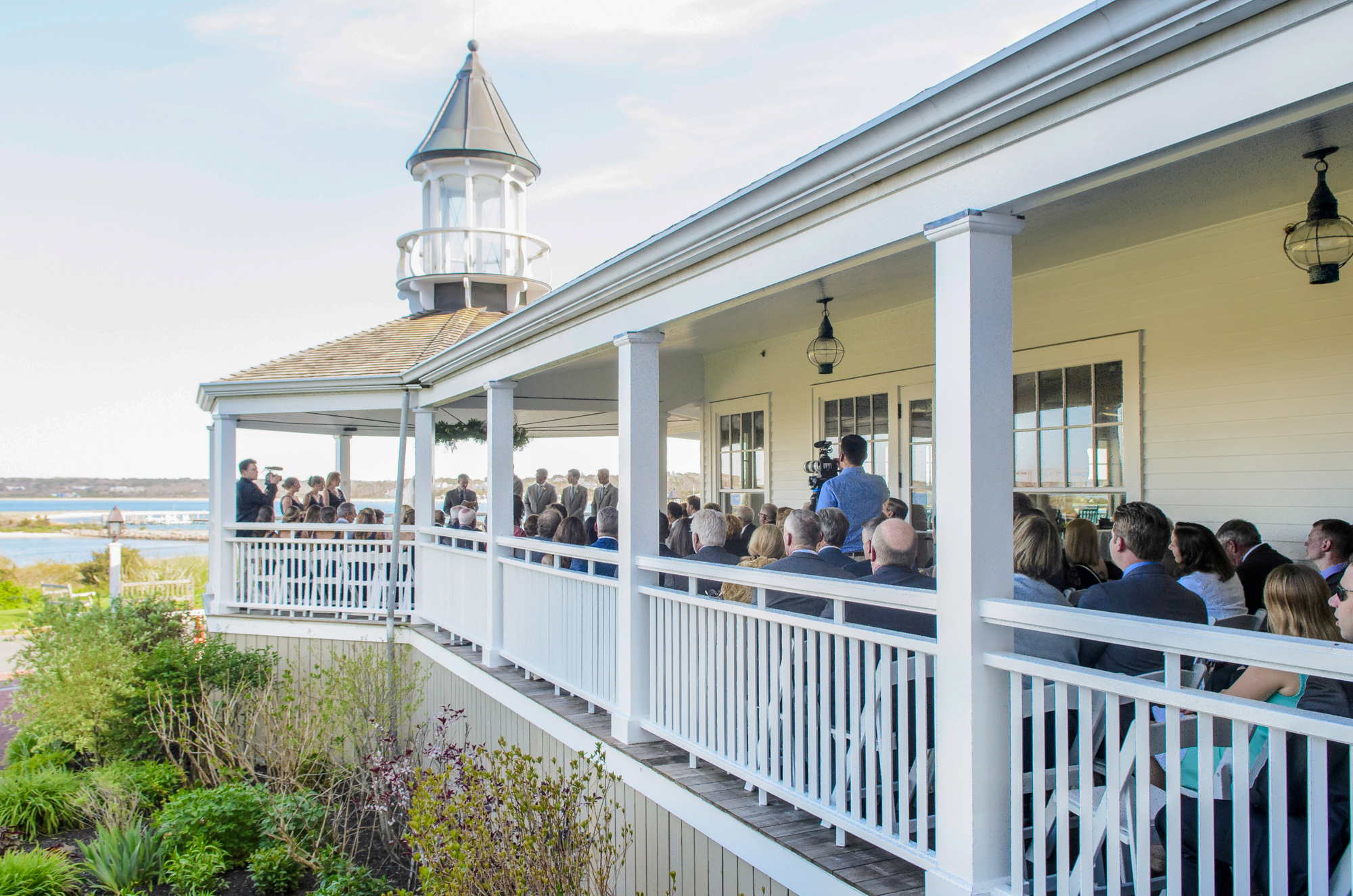 A classic gazebo wedding ceremony at the Harbor View Hotel in Edgartown  photo by David Welch Photography
