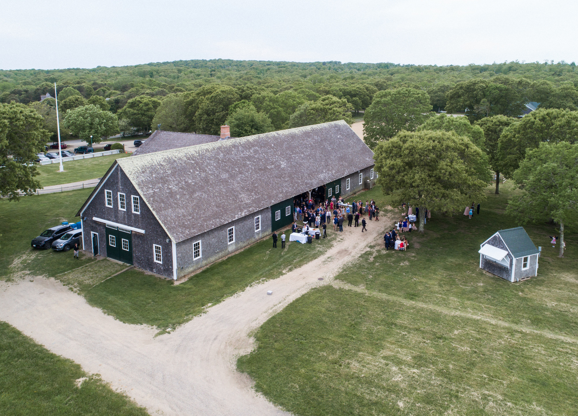 A drone photo of the Martha's Vineyard Agricultural Hall in West Tisbury photo by David Welch Photography