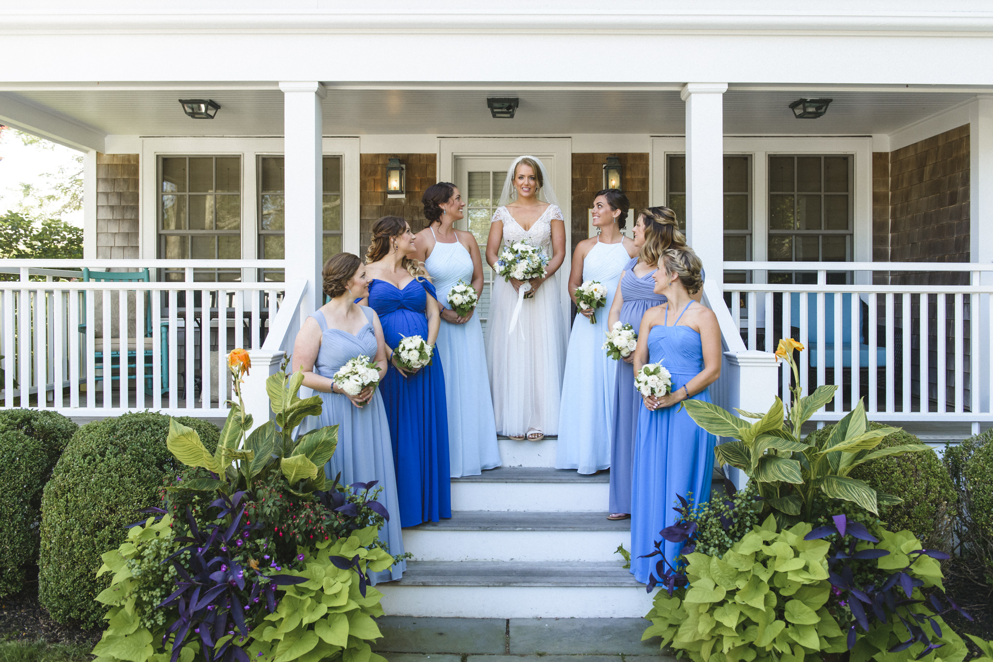 A bride and her bridesmaids at the Harbor View Hotel on Martha's Vineyard photo by David Welch Photography