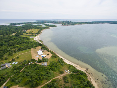 Drone photo of a Chilmark wedding tent photo by David Welch Photography