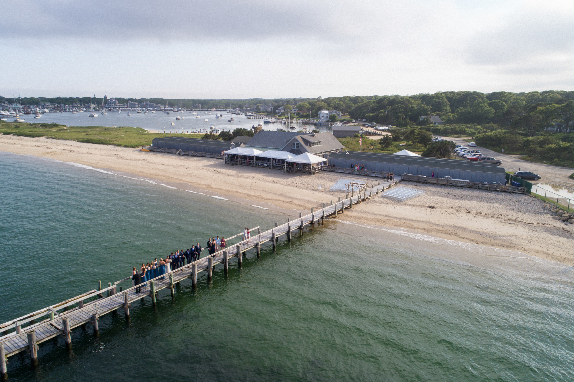 A drone photo of the East Chop Beach Club in Oak Bluffs martha's vineyard wedding venues photo by David Welch Photography