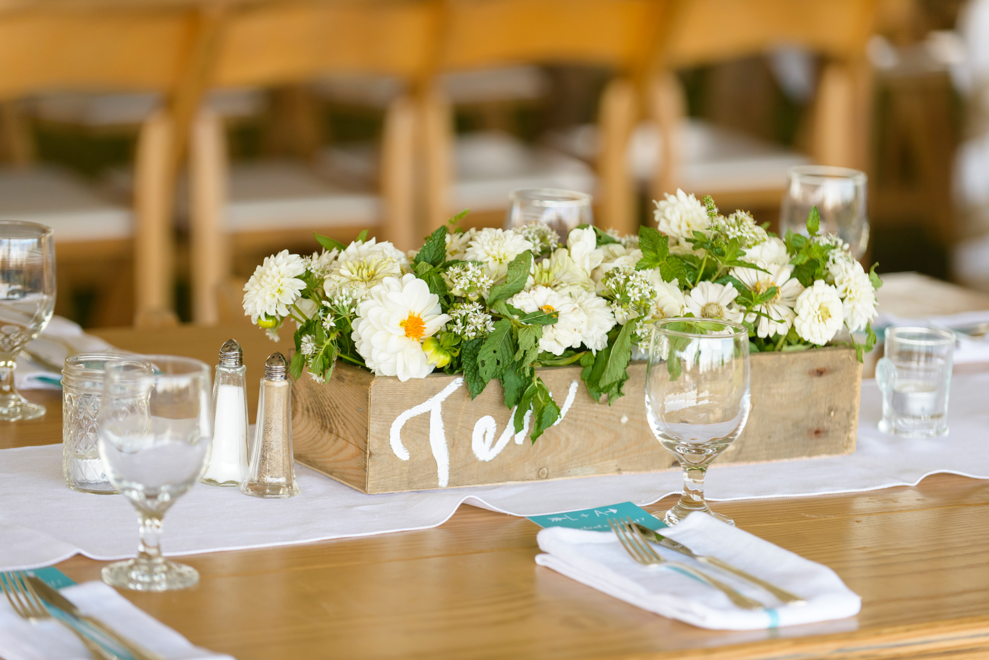 A wedding tablescape at The Tower House in Chilmark photo by David Welch Photography