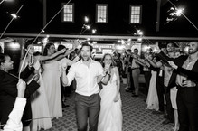 A sparkler exit for the bride and groom at the Martha's Vineyard Agricultural Society Ag Hall photo by David Welch Photography