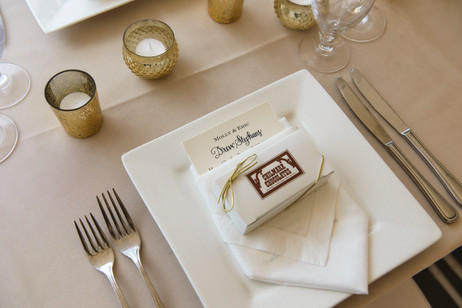 Table setting at a Dr. Daniel Fisher House and Garden wedding on Martha's Vineyard photo by David Welch Photography