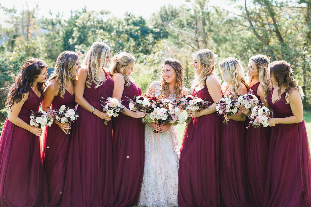 A bride and her bridesmaids at the Winnetu Oceanside Resort in Edgartown on Martha's Vineyard photo by David Welch Photography