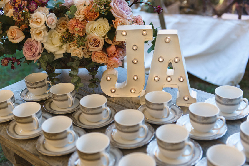 A wedding table detail at Island Alpaca Company on Martha's Vineyard photo by David Welch Photography