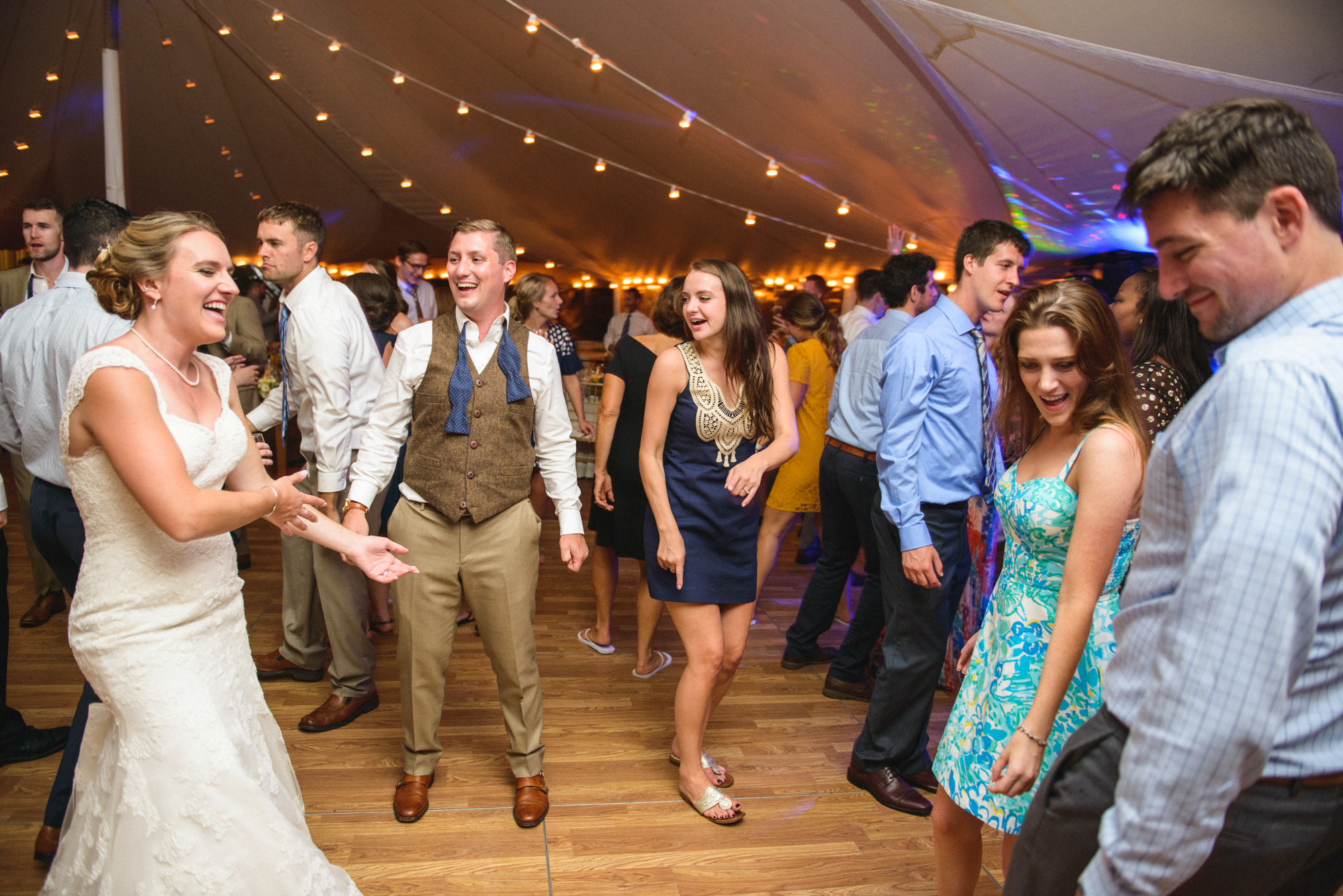 Dancing the night away under a Sperry pole tent at Farm Neck Golf Club  photo by David Welch Photography