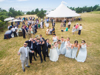 Fun drone photo of a bride party in Chilmark photo by David Welch Photography
