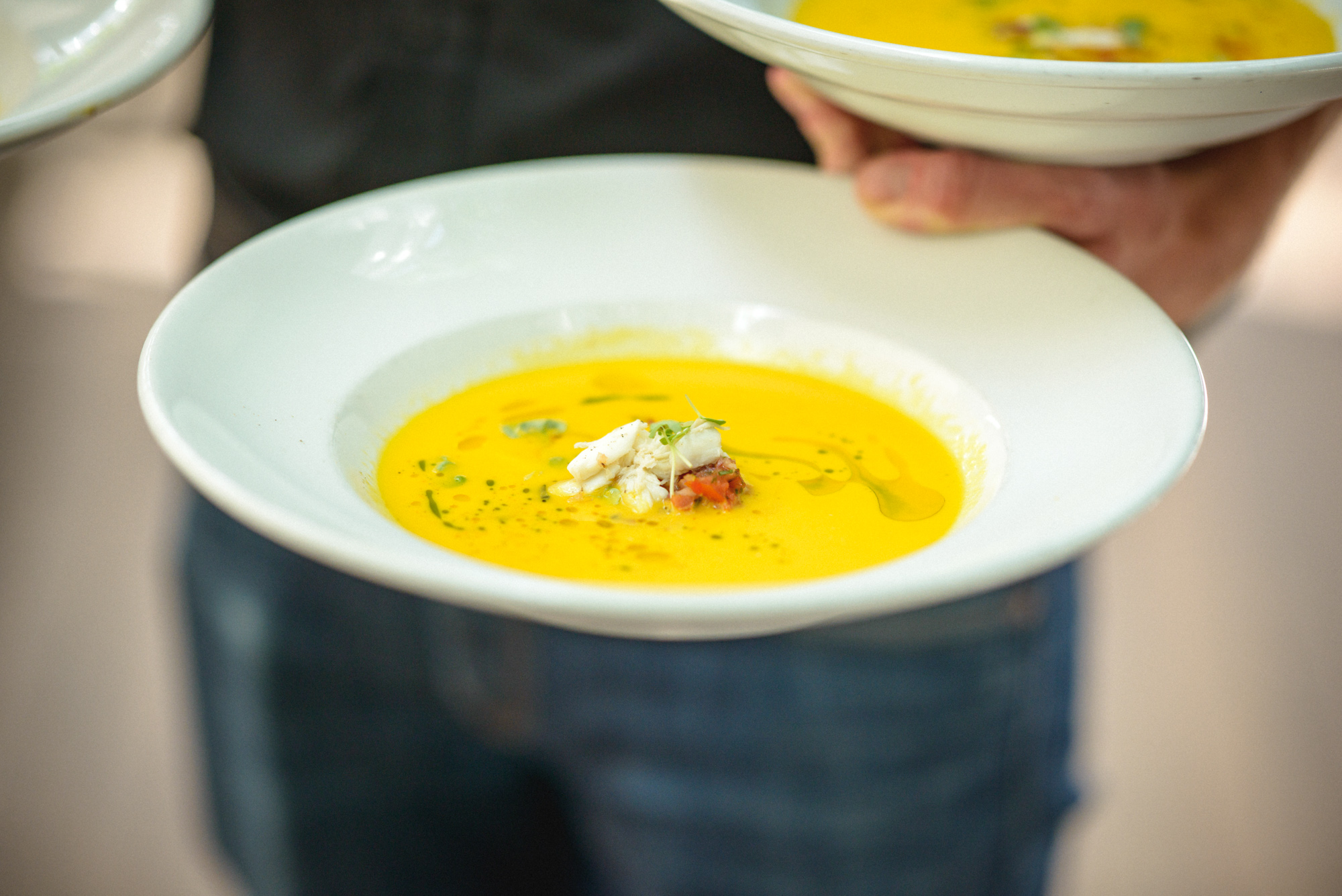 A unique twist on lobster bisque  at Atria Restaurant and Brick Cellar Bar in Edgartown photo by David Welch Photography