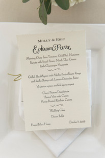 Dinner menu at a Dr. Daniel Fisher House and Garden wedding on Martha's Vineyard photo by David Welch Photography
