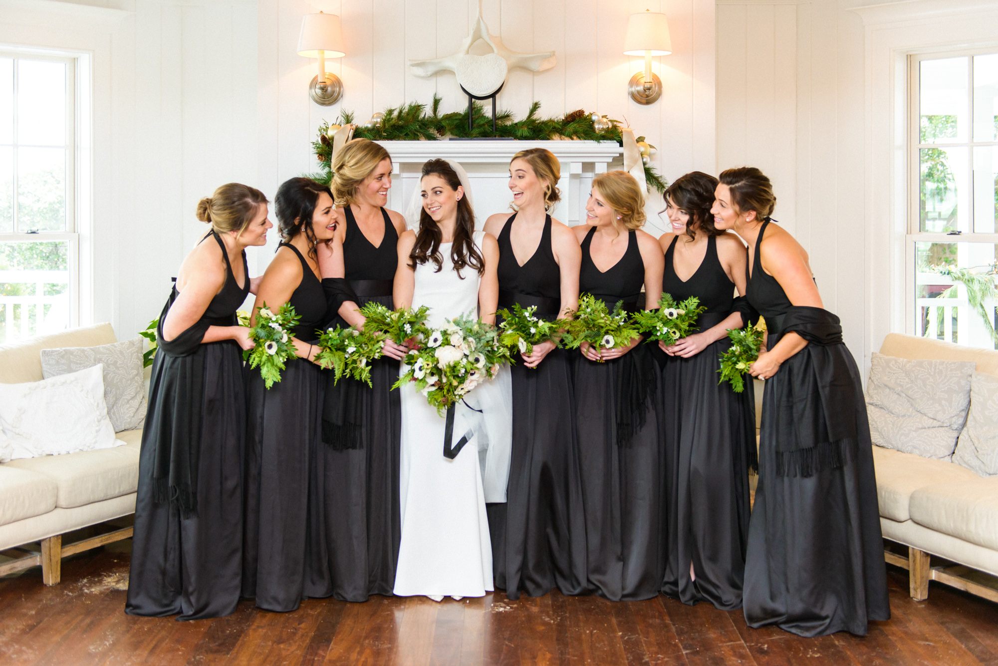 A bride and her bridesmaids inside the Harbor View Hotel in Edgartown  photo by David Welch Photography