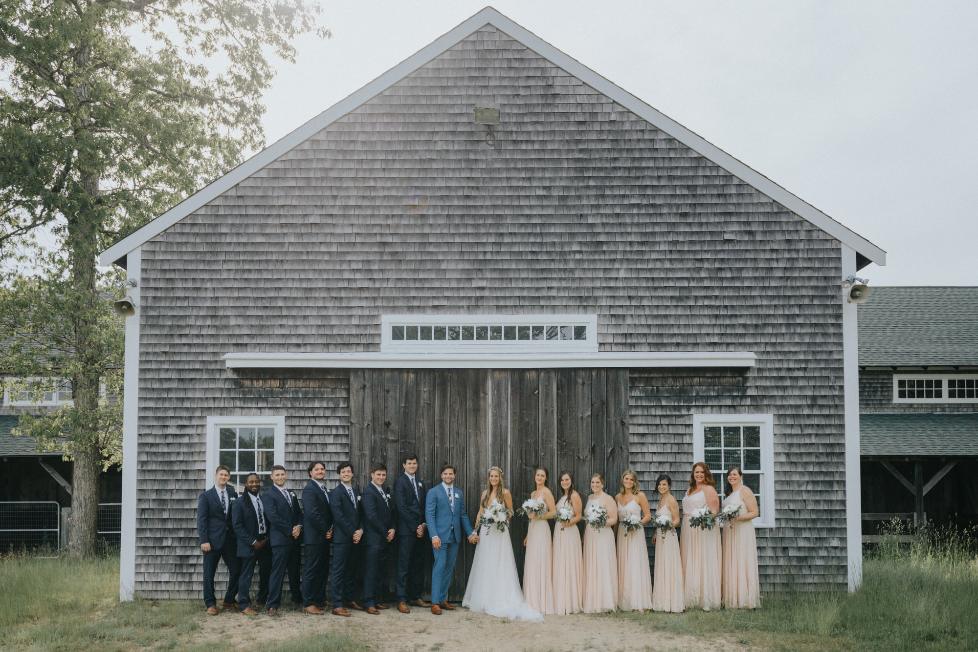 A wedding party at the Martha's Vineyard Agricultural Hall in West Tisbury photo by David Welch Photography