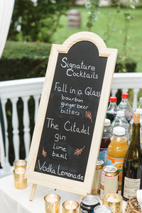 Drink menu at a Dr. Daniel Fisher House and Garden wedding on Martha's Vineyard photo by David Welch Photography