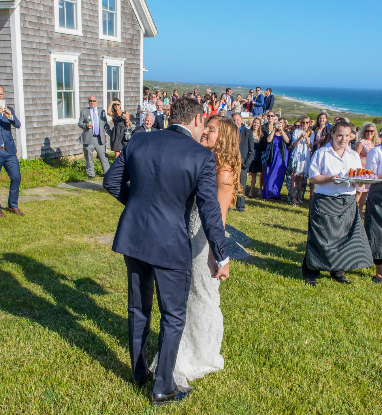 A bride and groom at the Vanderhoop Homestead photo by David Welch Photography
