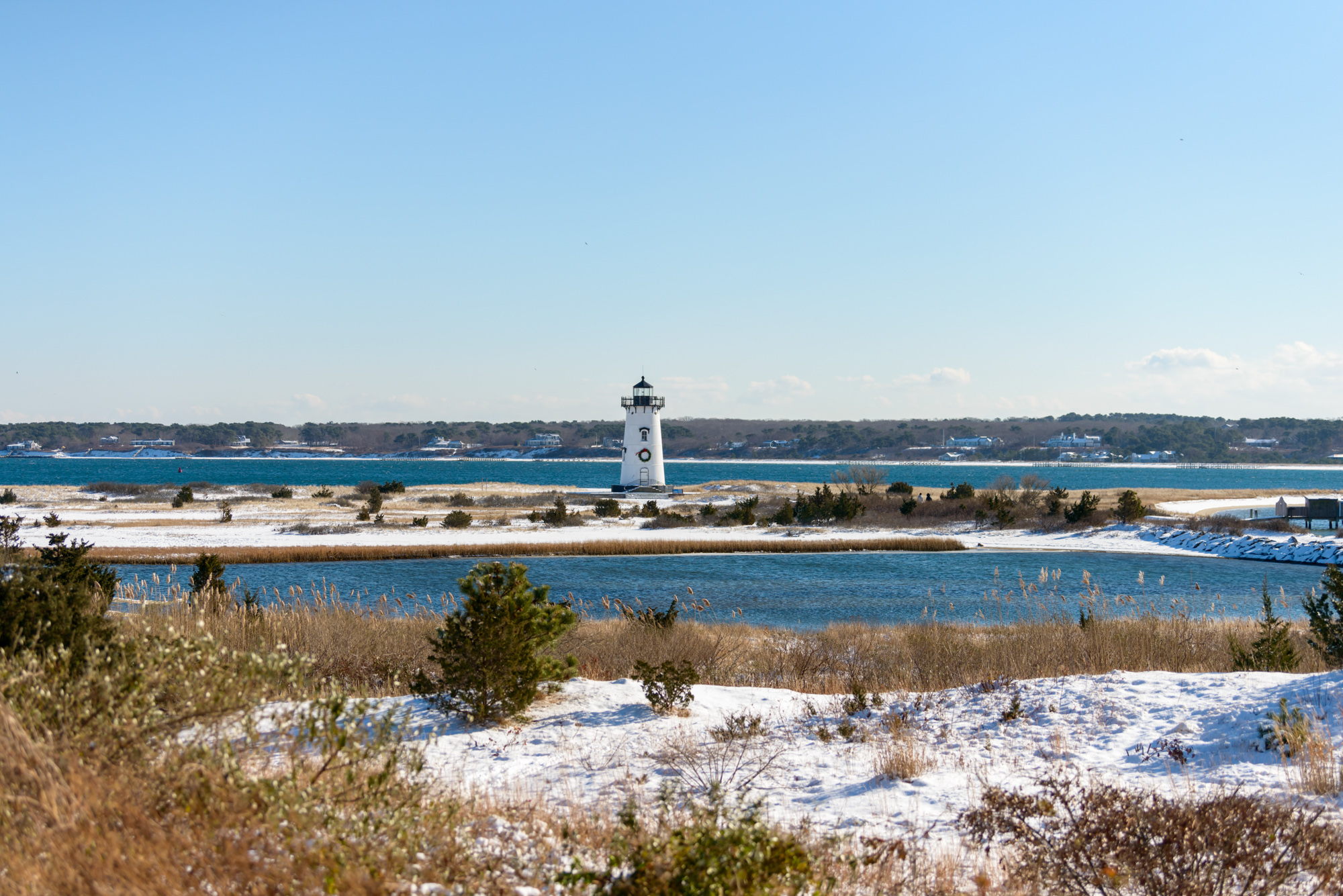 A snowy Edgartown Lighthouse in December   photo by David Welch Photography