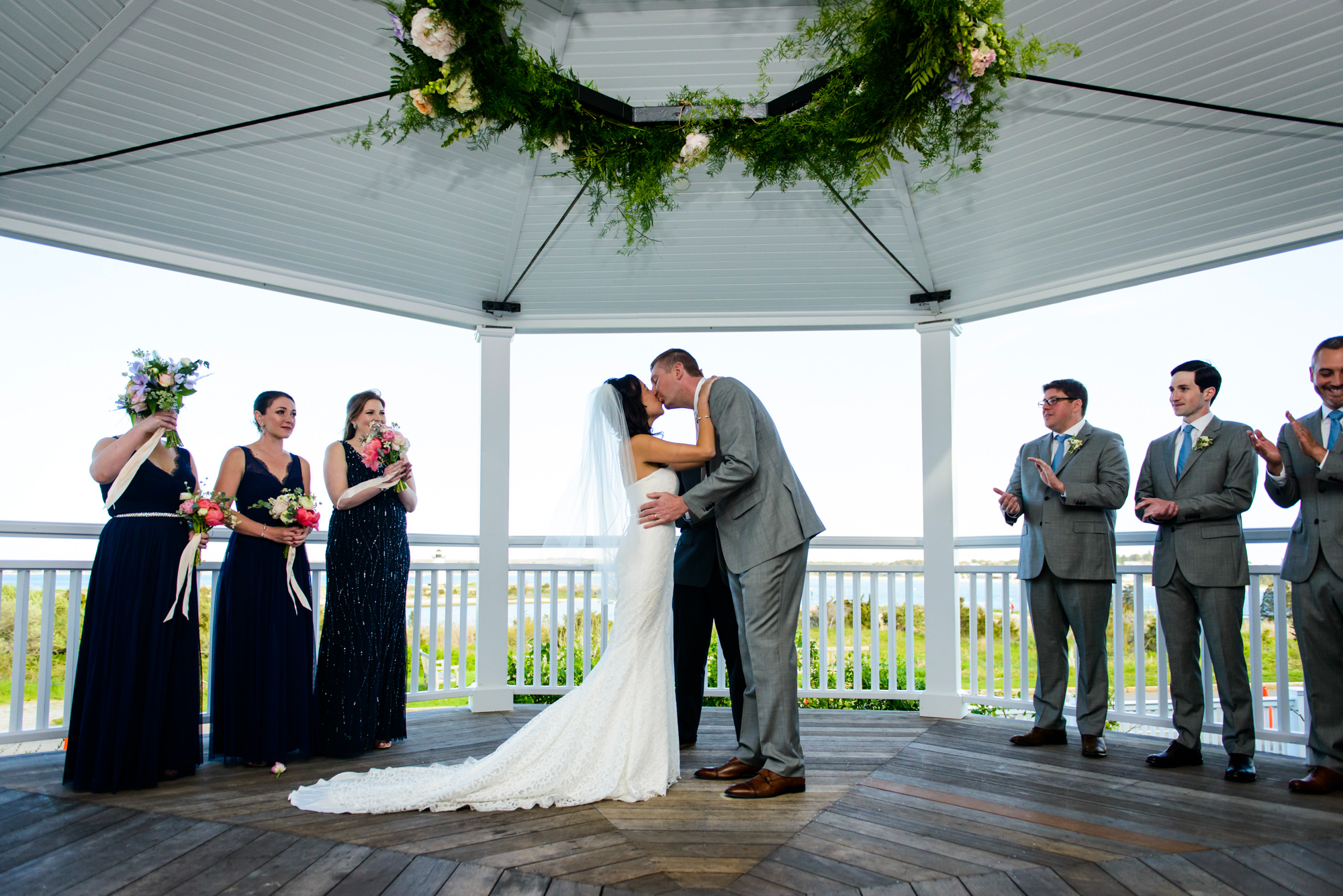 Cheers to the newlyweds at the Harbor View Hotel  photo by David Welch Photography
