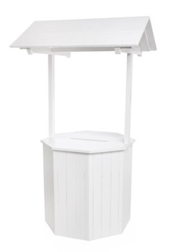Large White Wooden Wishing Well