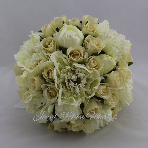 Silk Bridal Package - White & Ivory Peonies & Rose