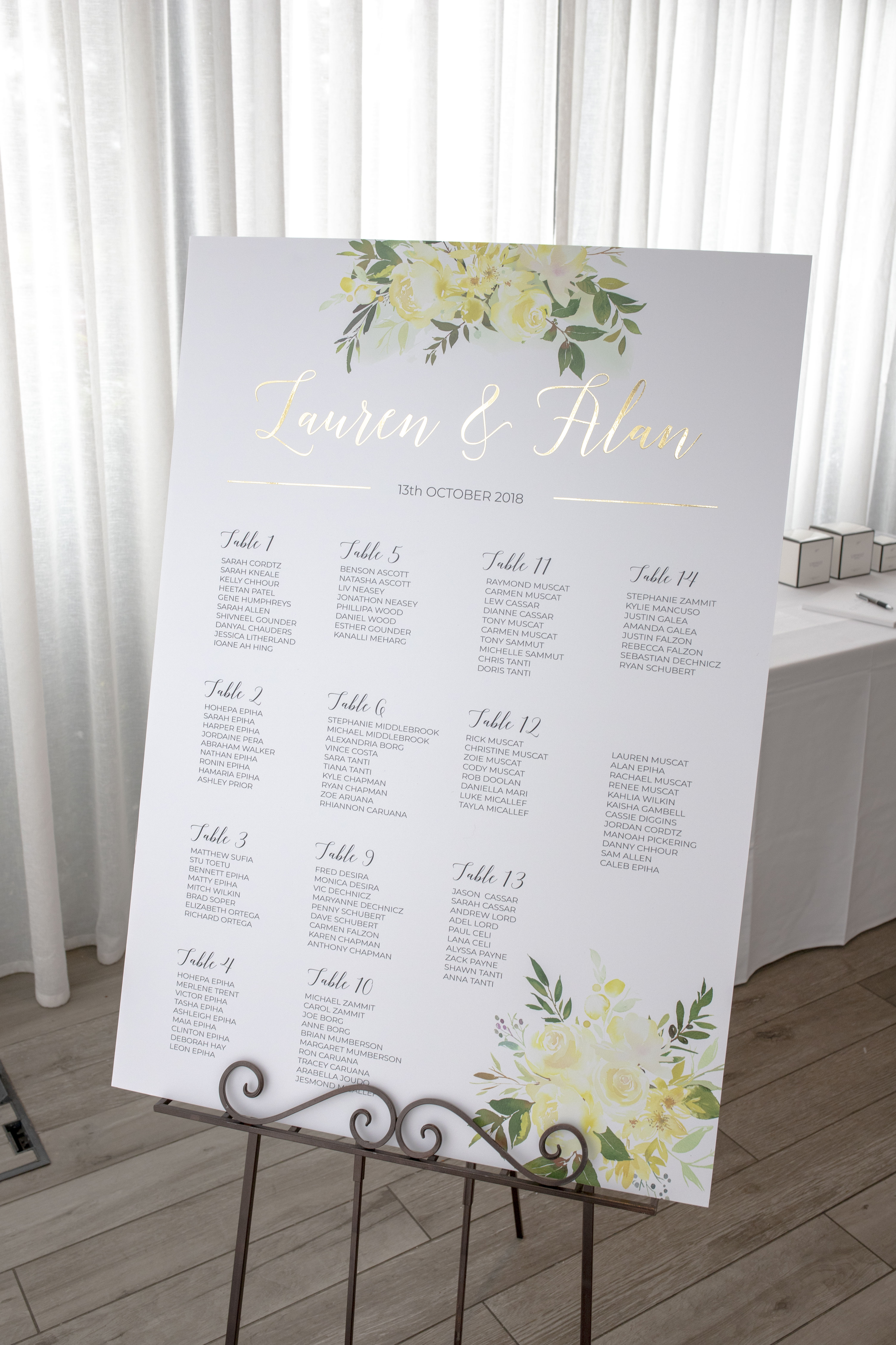 Lauren & Alan Seating Chart