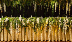 Bridal Table Backdrop & Cascading Table Runner