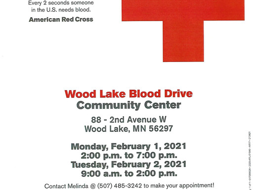 Blood Drive in Wood Lake for 2 days in February!
