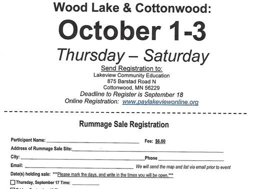 Community Rummage Sales-October 1-3, 2020