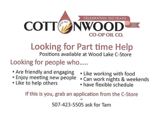 Cottonwood Co-op-Wood Lake - Looking for PT help