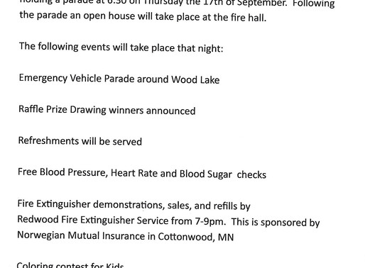 Wood Lake Fire Dept. Parade & Open House Sept. 17th