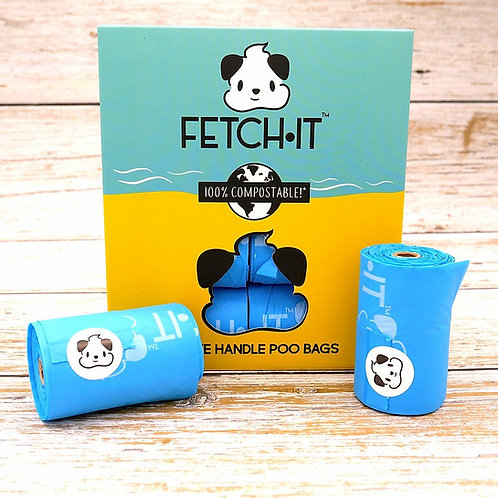 FETCH·IT Compostable Poo Bags with Tie Handles (120 Bags)