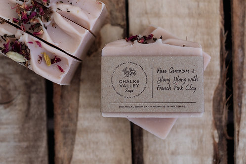Chalke Valley Soaps - Rose-Geranium & Ylang Ylang with French Pink Clay