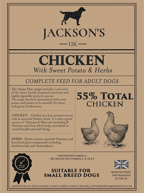 55% TOTAL CHICKEN  Small Breed / Adult