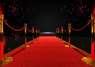 long red carpet between rope barriers wi