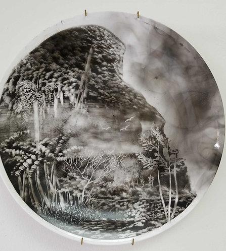 Landscape. Ceramic plate.