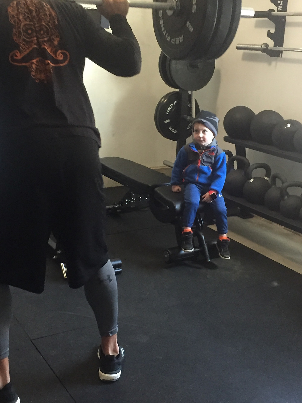 Landen Watching Brad Squat