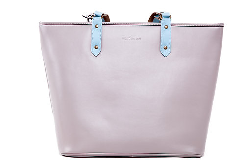 Duchess Leather Tote Bag Grey Sky