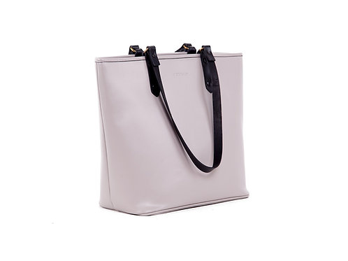 Duchess Leather Tote Bag Grey Black