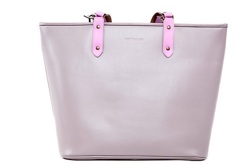 Duchess Leather Tote Bag Grey Pink