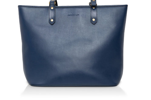 Duchess Leather Tote Bag Navy Blue
