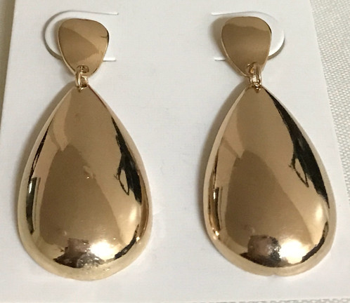 Gold Teardrop Stud Back Earrings