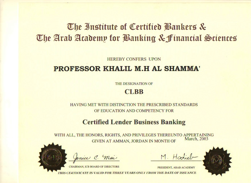 Certified Lender Business Banking 2003