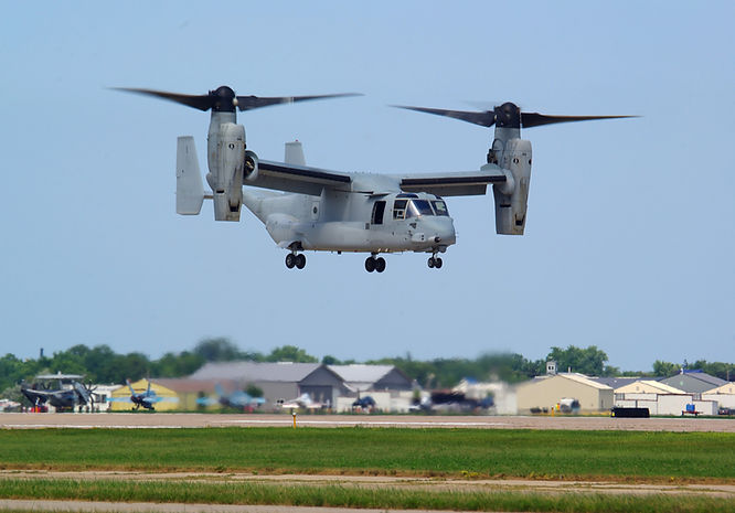 V22 Osprey doing a demonstration at an a