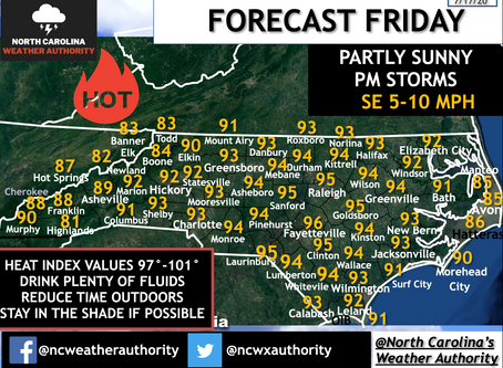 FORECAST: FRIDAY, JULY 17TH; HOT TEMPERATURES CONTINUE WITH PM STORMS POSSIBLE