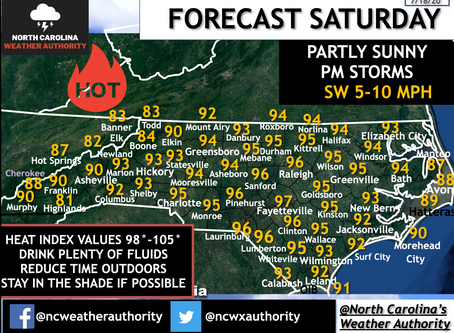 FORECAST: SATURDAY, JULY 18TH, ANOTHER HOT DAY AHEAD PM STORMS POSSIBLE