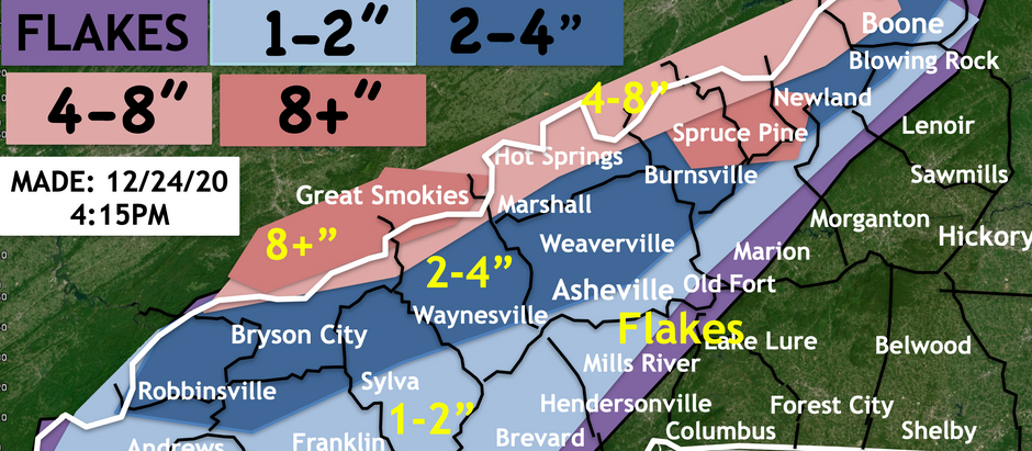 NORTH CAROLINA MOUNTAINS TO SEE A WHITE CHRISTMAS AS A WINTER STORM MOVES IN TONIGHT