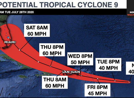 POTENTIAL TROPICAL CYCLONE 9 DESIGNATED; VERY TRICKY AND UNCERTAIN FORECAST PATH AHEAD