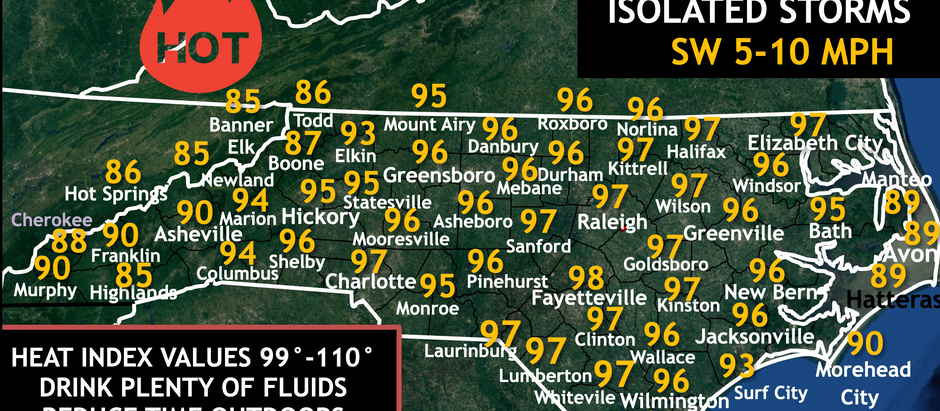 FORECAST: Monday, July 20th, 2020; HOTTER HIGHS IN THE 90S AND DANGEROUS HEAT INDEX VALUES