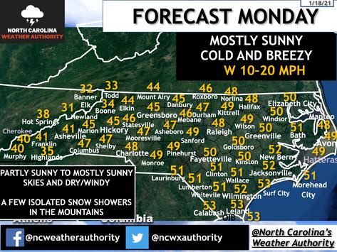 Forecast Monday, January 18th, 2021