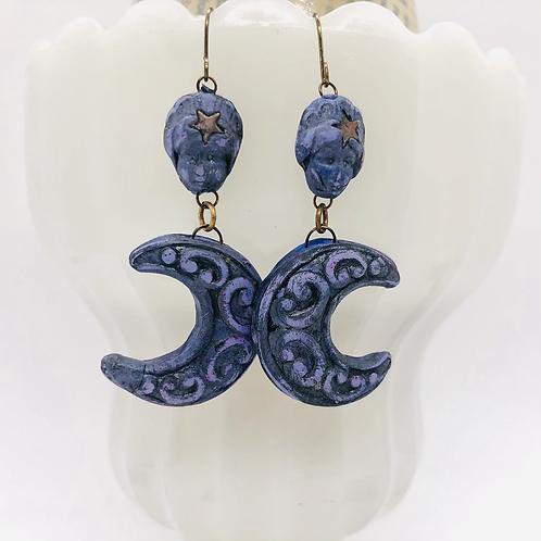 Violet Moon Goddess  Earrings